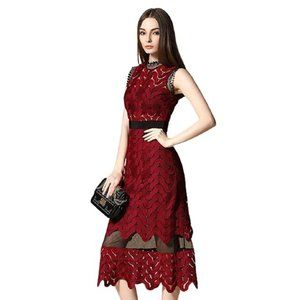 Tuliplazza Women Zigzag Tunic Sheath Midi Dress